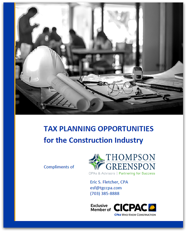 Tax Planning Opportunities for Construction LRG